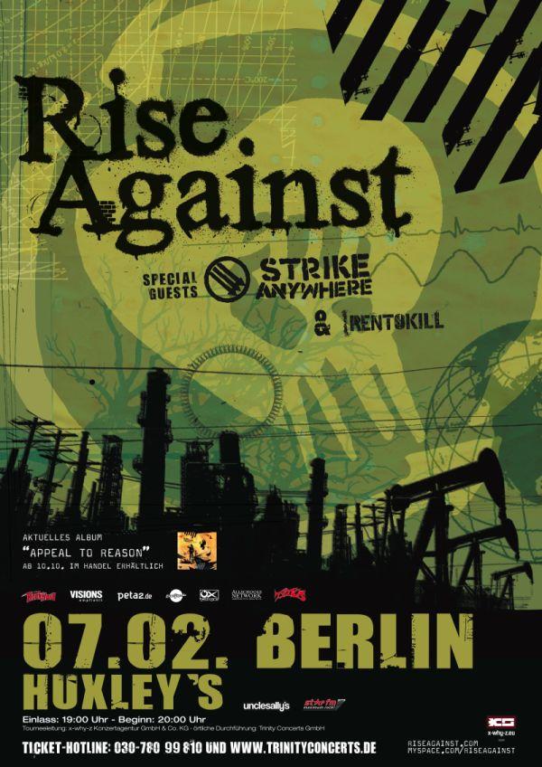 Photo zu 07.02.2009: Rise Against, Strike Anywhere, Rentokill - Berlin - Columbiahalle