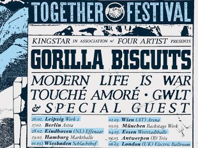ALLSCHOOLS PRESENTS: TOGETHER FEST - GORILLA BISCUITS & MODERN LIFE IS WAR auf Tour