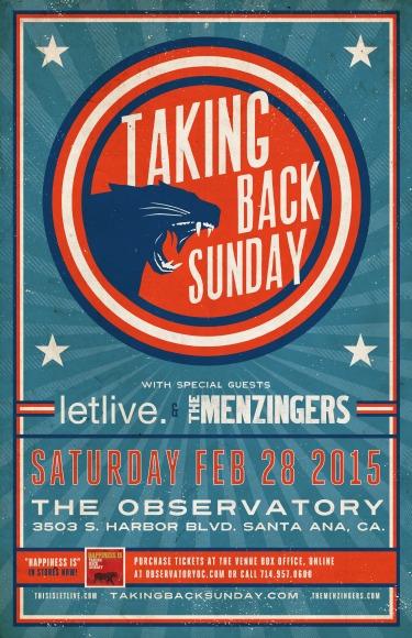Photo zu 28.02.2015: Taking Back Sunday, Letlive., The Menzingers - The Observatory - Santa Ana, CA