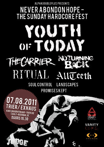 Photo zu 07.08.2011: Youth of Today, No Turning Back, The Carrier, Ritual, Soul Control, All Teeth, Landscapes, Promises Kept - Ex-Haus, Trier