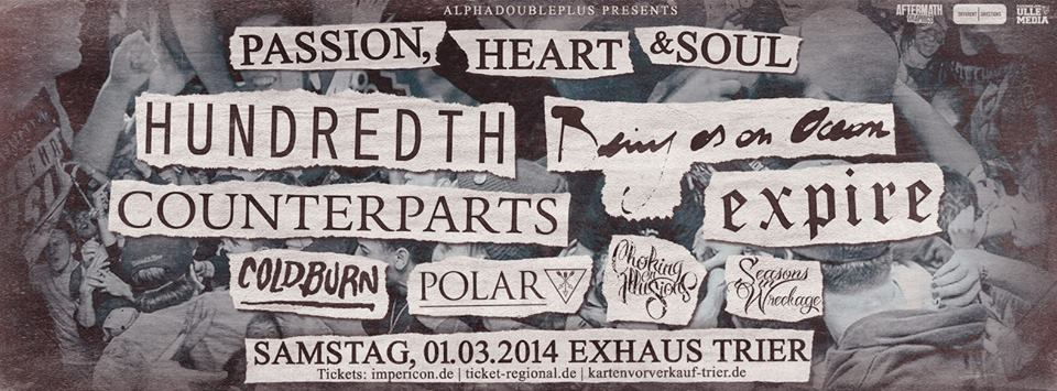 Photo zu 01.03.2014: Being As An Ocean, Hundredth, Counterparts, Expire, Coldburn, Choking On Illusions, Seasons in Wreckage - Trier - Exhaus