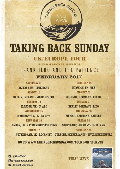 TAKING BACK SUNDAY - UK/Europe Tour 2017